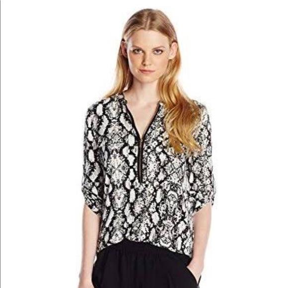 8a13dc4f09 Calvin Klein Animal Print zip up front top